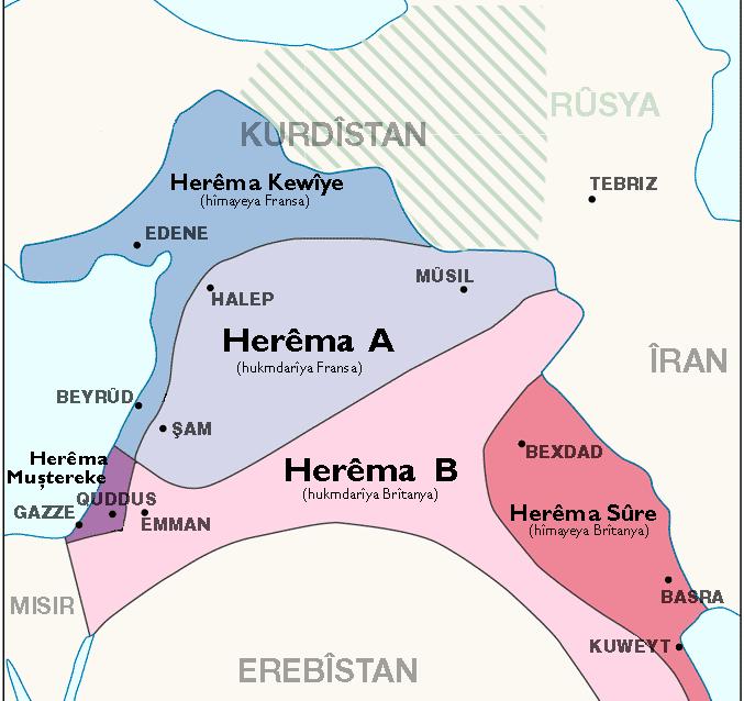 Peymana Sykes-Pîcotî ra gore Rojhelato Mîyanên mîyanê hêzanê Întîlafî de pare benê (seba girskerdiş bitikne)